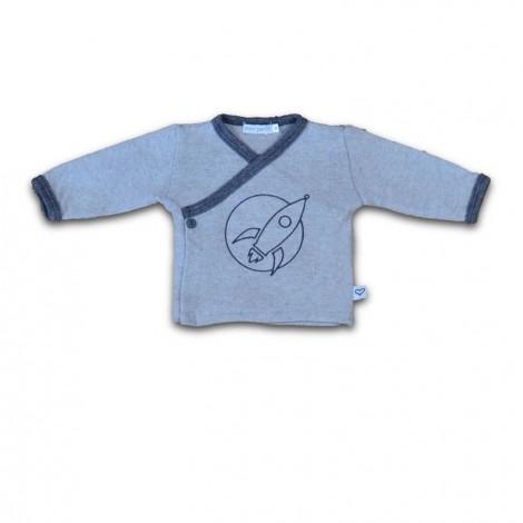 Camiseta bebé jubón cruzada Cohete gris