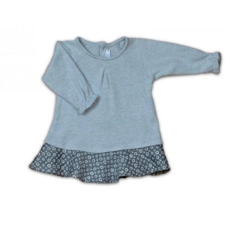 Vestido bebé punto gris con camisa