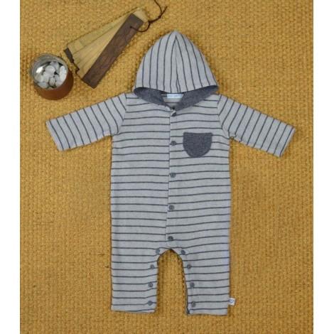 Pelele bebé capucha gris a rayas