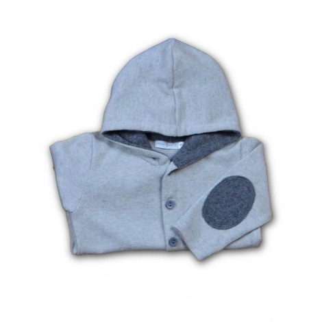 Jersey bebé capucha gris coderas