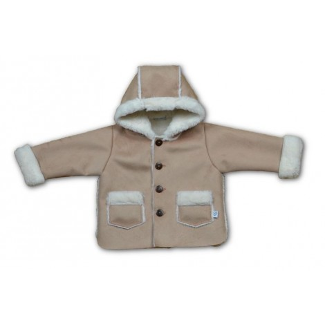 Abrigo bebé antelina beige y polar