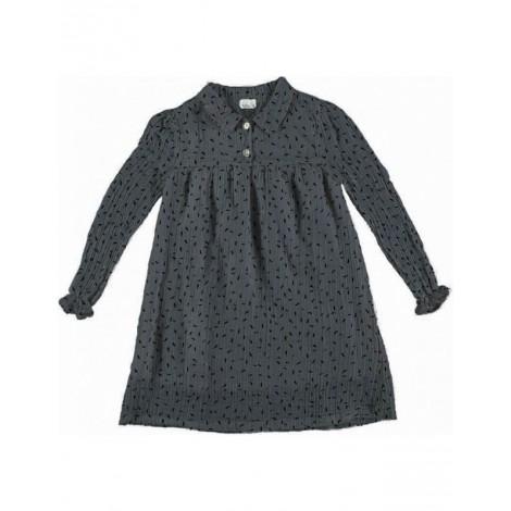 Vestido niña CHLOE BLEU NORD en algodón arrugado