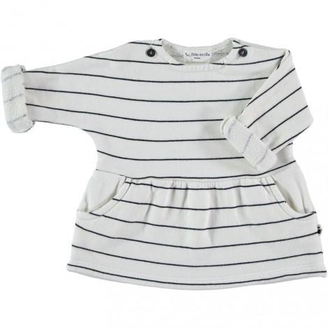 Vestido bebé MARFIL STRIPES IVORY de algodón