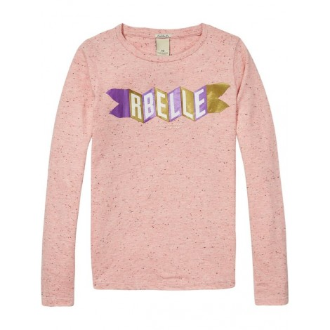 Camiseta niña jersey jaspeado M/L rosa con gráfico