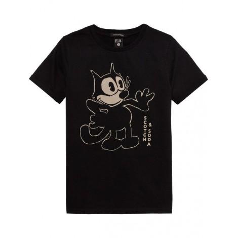 Camiseta niño negra M/C El Gato Félix dibujado