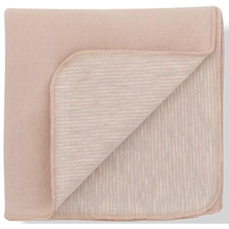 Manta bebé TULA tejido doble cara rosa y rayas