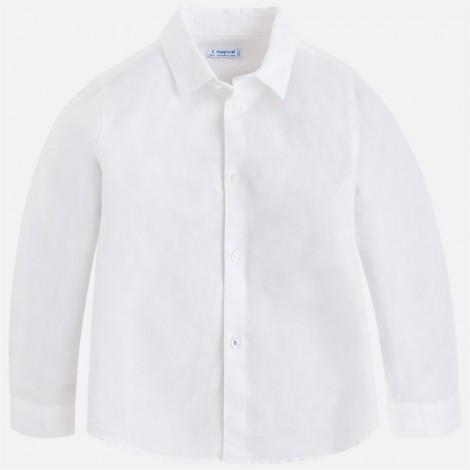 Camisa niño m/l lino basica color Blanco