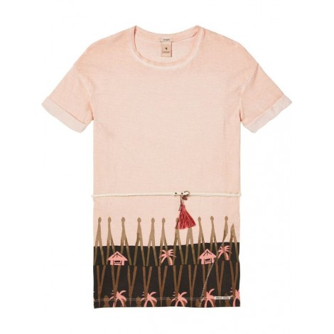 Vestido niña camiseta estampado en DUSTY ROSE