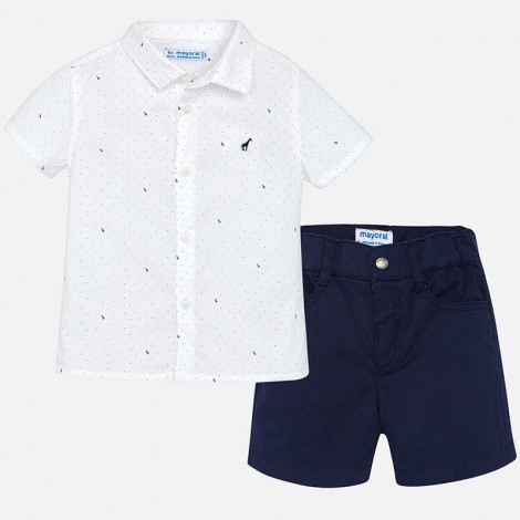 Conj. bebé bermuda camisa estampad color Marino