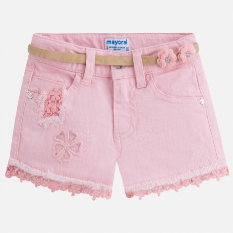 Short sarga niña guipur color Rosa