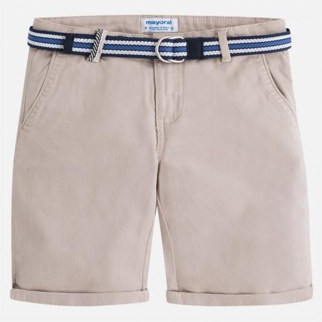 Bermuda chino niño pique cinturón color Yute