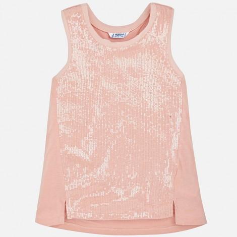 Camiseta tirantes lentejuelas color Nude