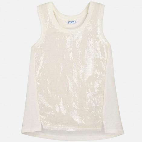 Camiseta tirantes lentejuelas color Champan