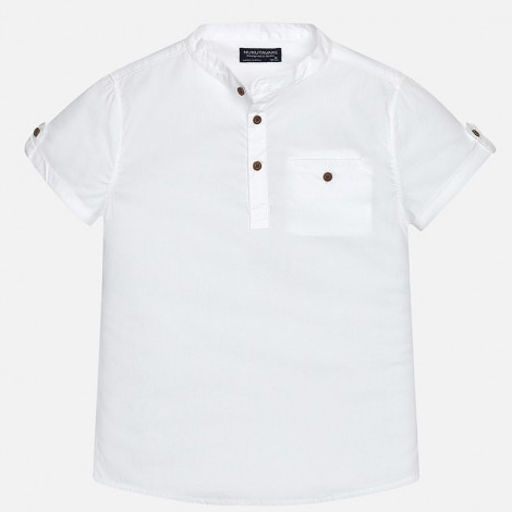 Camisa m/c cuello mao color Blanco