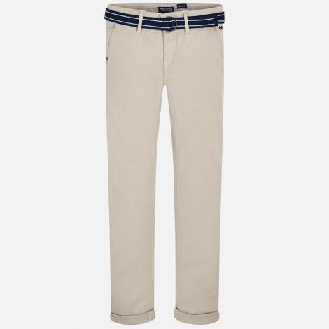 Pantalon niño pique cinturon color Yute