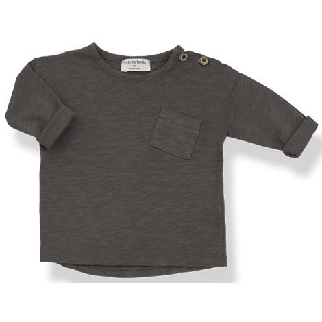 Camiseta bebé JASPER M/L bolsillo  en CACAO