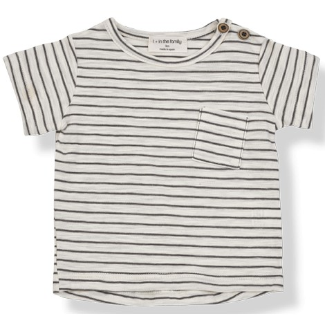 Camiseta bebé rayas MAGRITTE M/C en CACAO