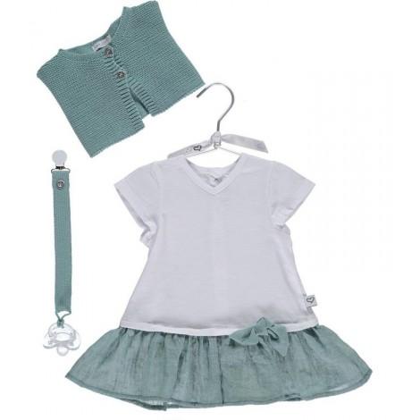 Vestido camiseta bebé BEA en GREEN