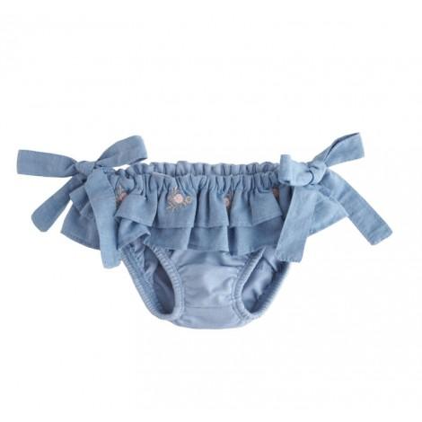 Braguita bikini bebé azul lazos volantes y bordado