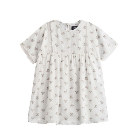 Vestido niña tejido blanco flores y puntilla