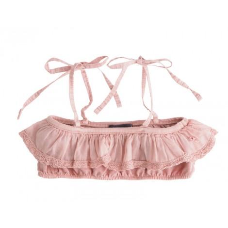 Top bikini niña volante rosa