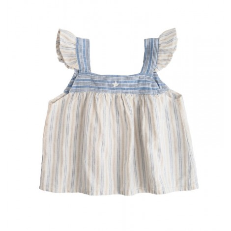 Vestido bebé corto listado combinado azul