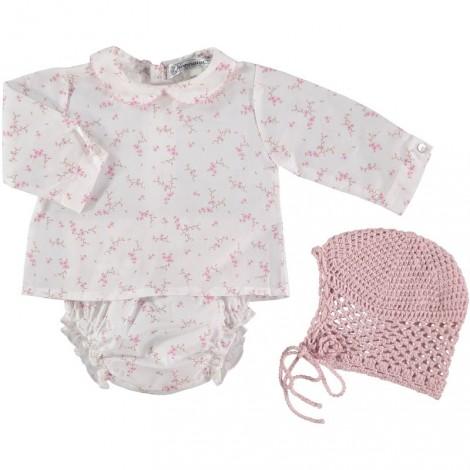 CAPOTA CROCHET de bebé Rosa