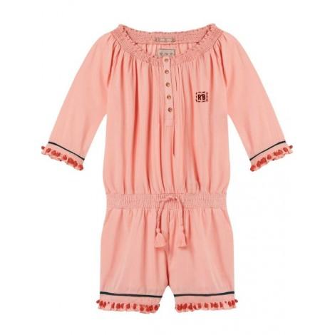Mono niña corto rosa con pompones