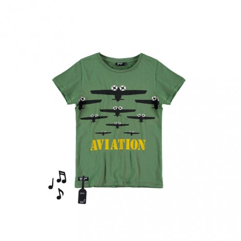Camiseta infantil sonido M/C AVIATION Verde