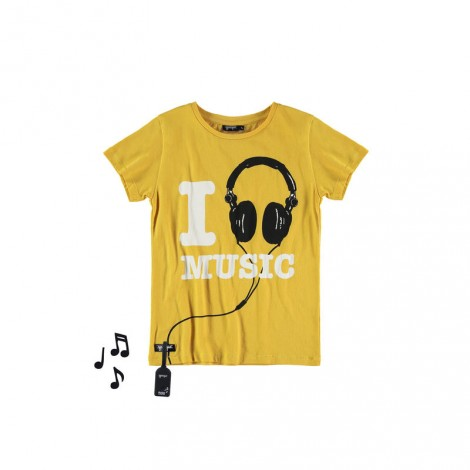 Camiseta infantil sonido M/C I LOVE MUSIC Yellow
