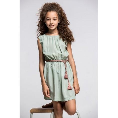 Vestido niña MIA efecto seda color LAGO