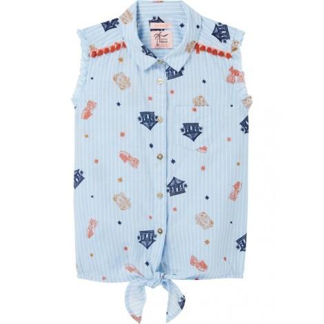 Camisa niña sin mangas azul con nudos