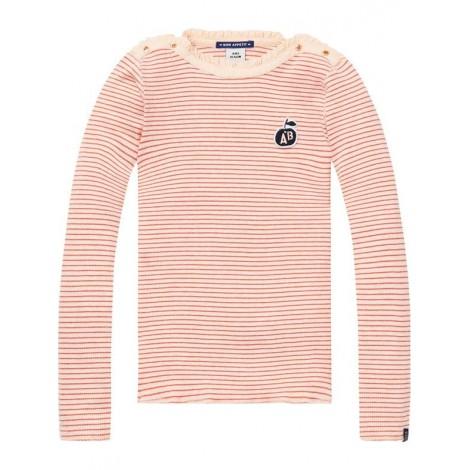 Camiseta niña M/L rosa y rayas rojas ajustada