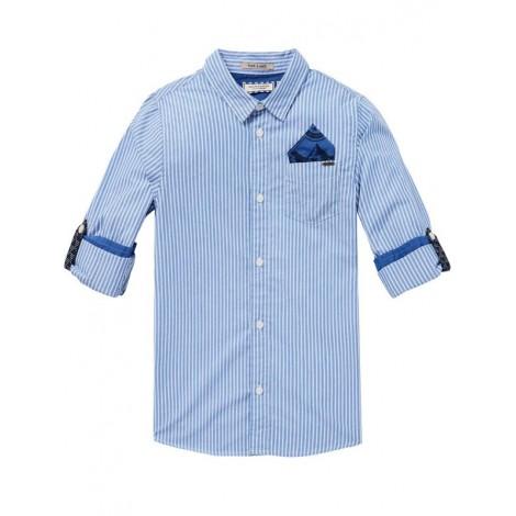Camisa niño azul a rayas bolsillo y presilla