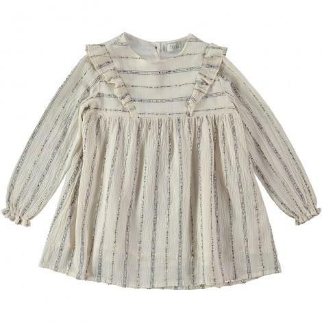 Vestido niña AMBER rayas de lurex en ECRU