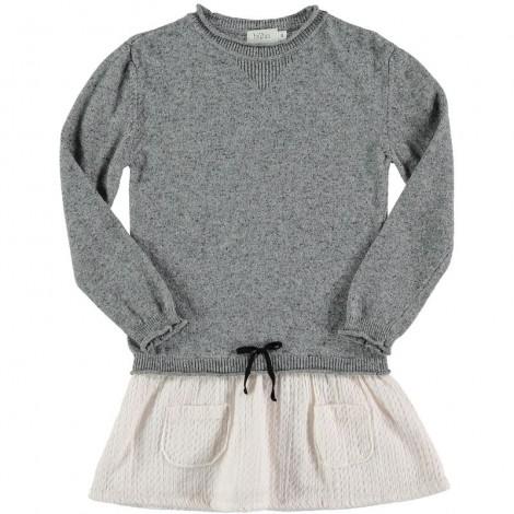 Vestido niña CLAUDIA COMBI de punto en GREY/ECRU