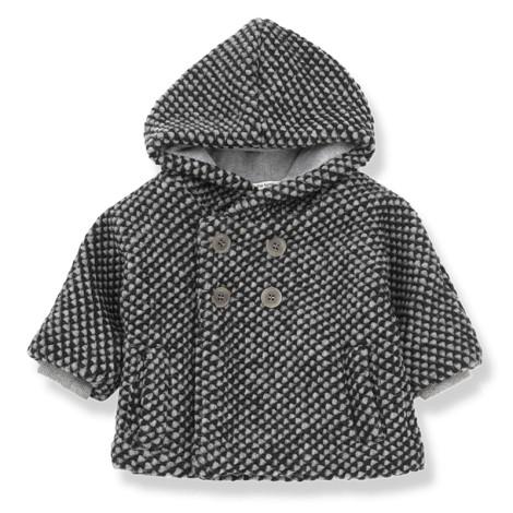 Abrigo bebé BERN botones y capucha en ANTRACITA