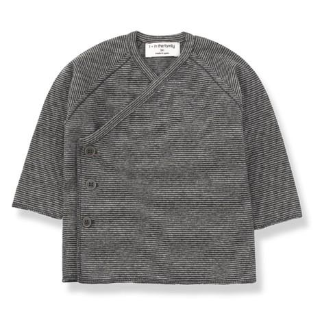 Camiseta jubón cruzado KOJI en ANTRACITA