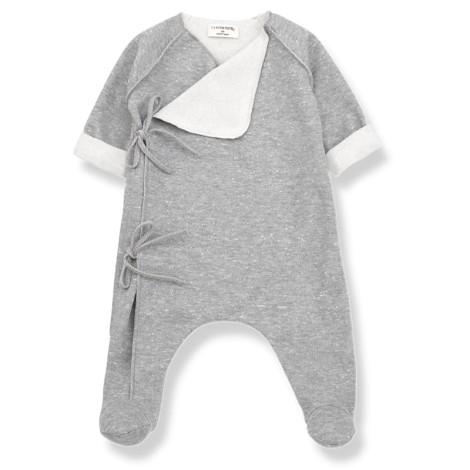 Pelele bebé NORMA lazo en GRIS CLARO