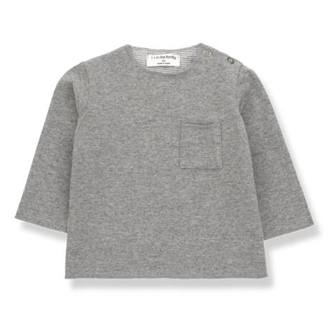 Camiseta bebé ORIOL bolsillo M/L en GRIS MEDIO