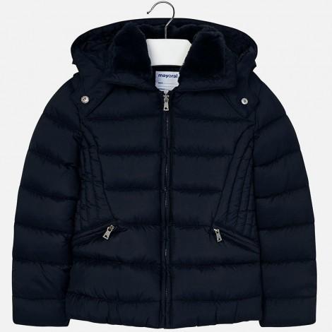 Chaquetón para niña acolchado con capucha color Marino