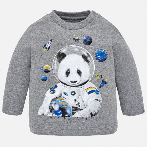 Camiseta bebé manga larga astronauta color Ceniza