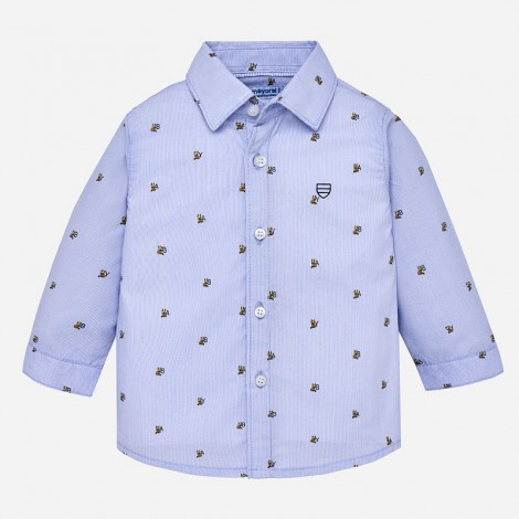 Camisa bebé manga larga estampada color Celeste