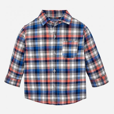 Camisa bebé manga larga a cuadros color Pimenton