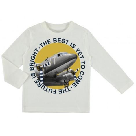 Camiseta para niño de manga larga avion color Nata