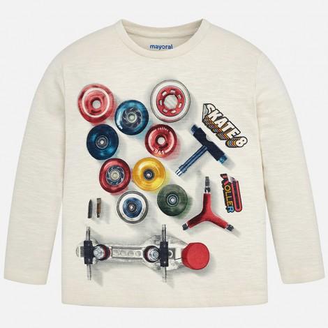 Camiseta niño manga larga piezas skate color Yeso