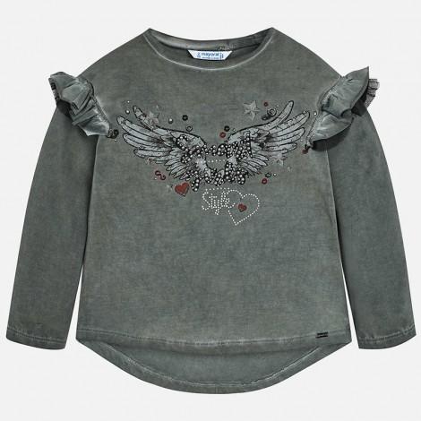 Camiseta para niña M/L con volantes y print color Gris