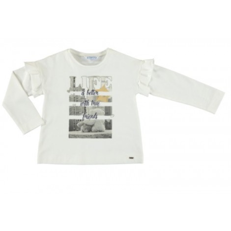 Camiseta para niña M/L volantes LIFE color Crd-tierra
