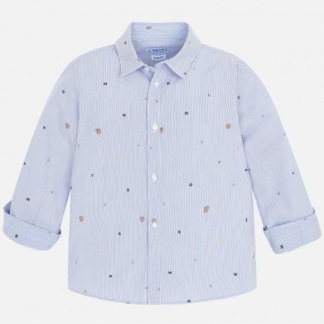 Camisa niño manga larga vestir jacquard color Azul