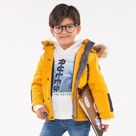 Chaquetón parka para niño combinado color Honey